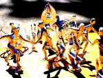 Gold and Blue Dancers